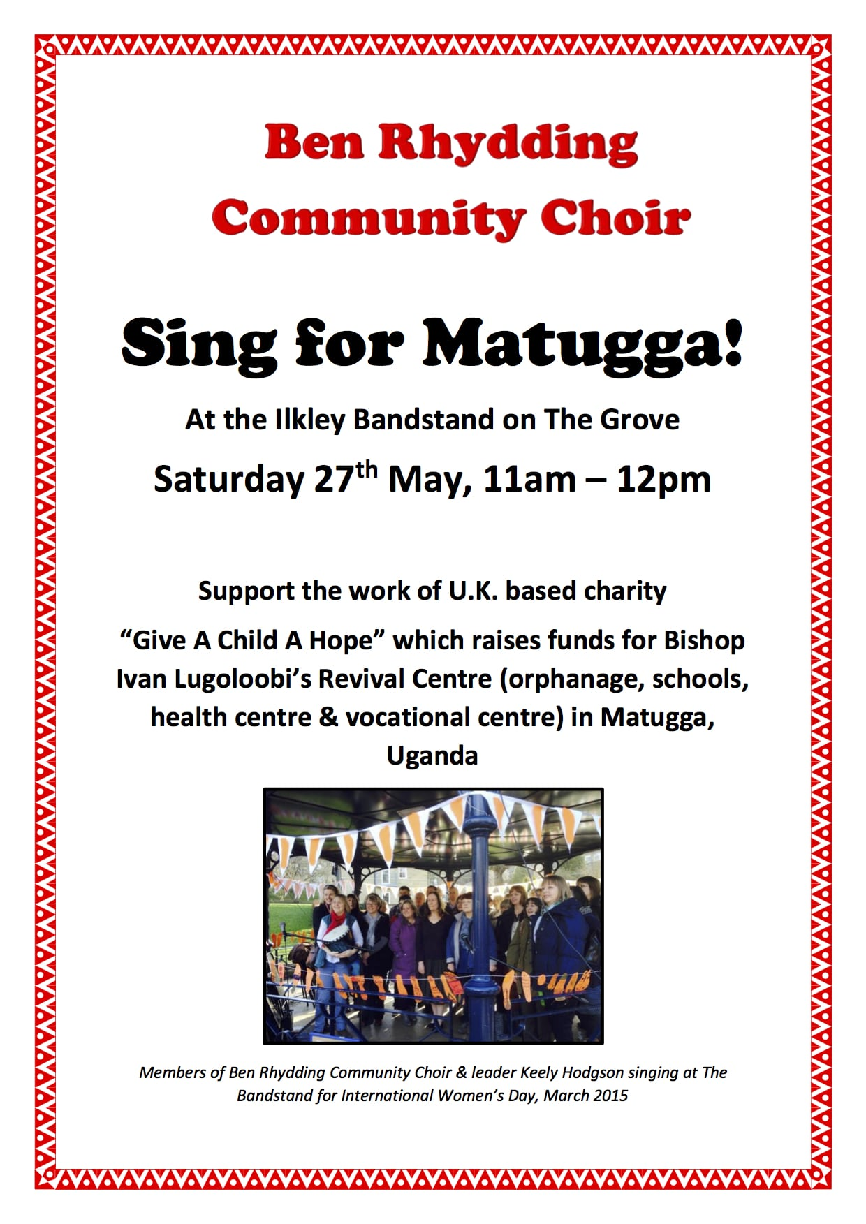 Ben Rhydding Choir at Ilkley Bandstand - 27th May - 11am -12pm
